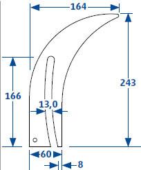 zwangsgef. Spaltkeil DIN 38820 für Sägen von 250 - 350 mm Ø 2,2 mm Spaltkeilstärke
